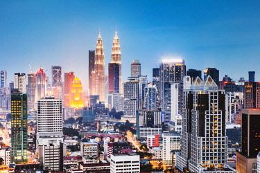 MAY0282AW Skyline with KLCC and Petronas towers, Kuala Lumpur, Malaysia