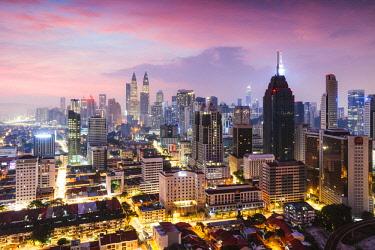 MAY0286AW Skyline with KLCC and Petronas towers, Kuala Lumpur, Malaysia