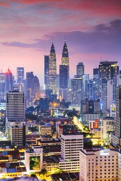 MAY0288AW Skyline with KLCC and Petronas towers, Kuala Lumpur, Malaysia