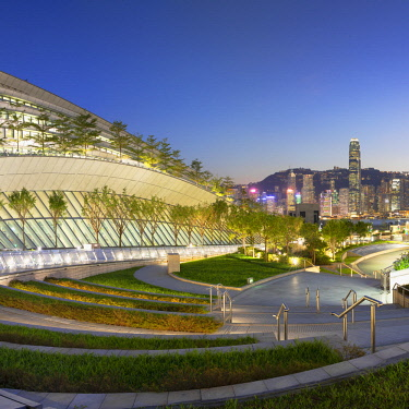 CH11747AW West Kowloon High Speed Rail Station and skyline at dusk, Kowloon, Hong Kong