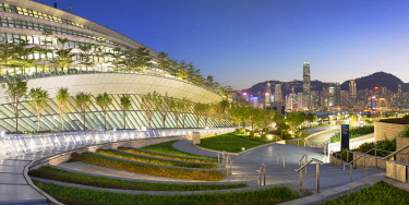 CH11748AW West Kowloon High Speed Rail Station and skyline at dusk, Kowloon, Hong Kong