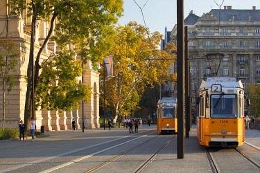 HUN1622AW Trams in Kossuth Lajos Square, Budapest, Hungary