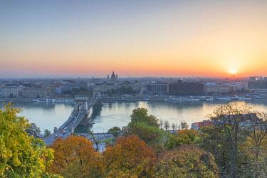 HUN1644AW View of Budapest at sunrise, Budapest, Hungary