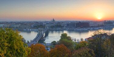 HUN1645AW View of Budapest at sunrise, Budapest, Hungary