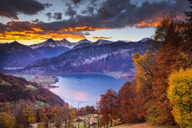 CH02554 Eiger, Monch & Jungfrau mountains, above Lake Thun, Berner Oberland, Switzerland