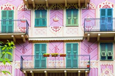 ITA13365AW Traditional Ligurian house facade, Camogli, Liguria, Italy,