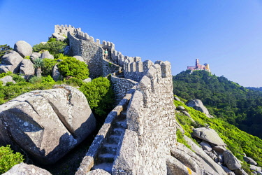 POR10054AW Castelo dos Mouros ramparts, Sintra, Portugal,