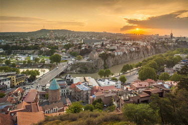 GG033RF Georgia, Tbilisi, high angle city skyline, sunrise