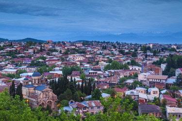 GG01297 Georgia, Kutaisi, high angle city skyline