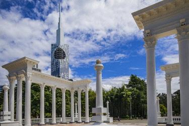 GG01321 Georgia, Batumi, Batumi Boulevard seaside promenade, colonades and Batumi Tower