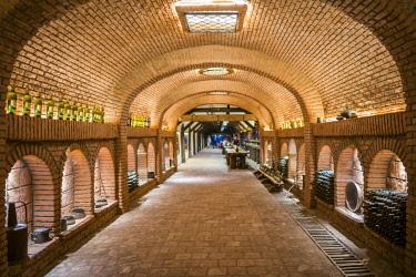 GG01363 Georgia, Kakheti Area, Kvareli, Winery Khareba, underground wine tasting area