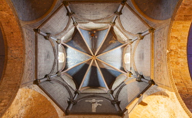 FRA10766 France. Nouvelle Aquitaine. Oloron Sainte Marie. Cupola at Oloron Sainte Marie Cathedral. UNESCO.