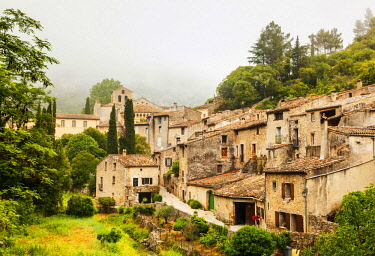 FRA10788 France, Occitanie, Saint Guilhem le Desert. The ancient village of San Guilhem le Desert on the Via Tolosana the route of Camino di Santigo which begins in Arles and heads towards Santiago de Composte...