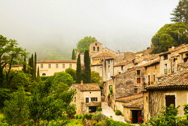 FRA10789 France, Occitanie, Saint Guilhem le Desert. The ancient village of San Guilhem le Desert on the Via Tolosana the route of Camino di Santigo which begins in Arles and heads towards Santiago de Composte...