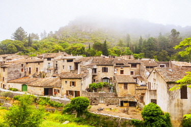 FRA10792 France, Occitanie, Saint Guilhem le Desert. The ancient village of San Guilhem le Desert on the Via Tolosana the route of Camino di Santigo which begins in Arles and heads towards Santiago de Composte...