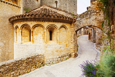 FRA10796 France, Occitanie, Saint Guilhem le Desert. The Abbey of Gellone in the ancient village of San Guilhem le Desert on the ruoute of the Camino di Santiago following the Via Tolosana which begins in Arle...
