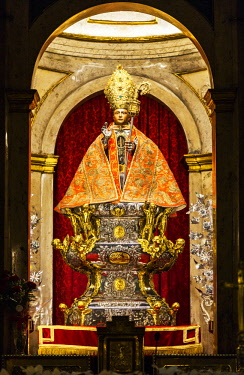SPA8577 Spain, Navarre, Pamplona. The famed statue of San Fermin inside the church of St Lawrence.