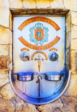 SPA8599 Spain, Navarre, Ayegui. The Bodegas Irache with is Feunte del Vino. It is customary on the Camino routes especially the Camino Frances to have fountains of water. The Irache fountain also includes win...