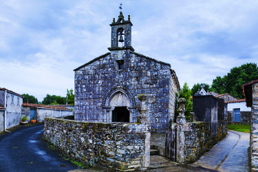 SPA8623 Spain, Galicia, Melide. The Parroquia of Santa Maria de Leboreiro in the hamlet of Leboreiro in the region of Melide on the Camino Frances towards Santiago de Compostela.