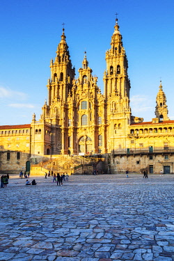 SPA8628 Spain, Galicia, Santiago de Compostela. The majestic Cathedral of Santiago de Compostela the destination of Pilgrims walking all routes along the Camino di Santiago.