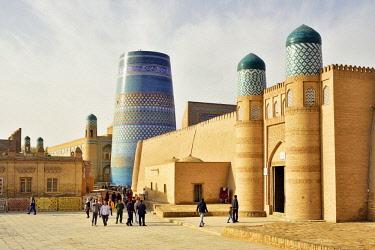UZB0194AW The main gate to the Khuna Ark citadel and the Kalta Minor minaret. Old town of Khiva (Itchan Kala), a Unesco World Heritage Site. Uzbekistan