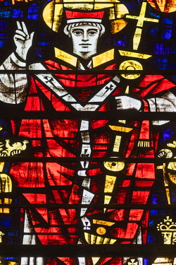 TPX67156 England, Kent, Canterbury, Canterbury Cathedral, Stained Glass Window depicting Saint Anselm Archbishop of Canterbury from 1093-1109