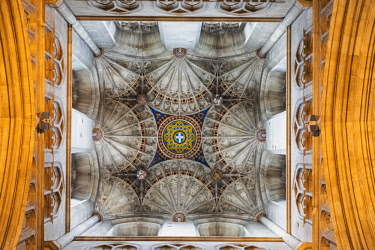 TPX67172 England, Kent, Canterbury, Canterbury Cathedral, Fan Vaulted Ceiling of Bell Harry Tower