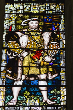 TPX67178 England, Kent, Canterbury, Canterbury Cathedral, The Chapter House, Stained Glass Window depicting Henry VIII