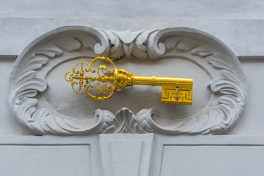 CZ01533 Czech Republic, Prague, Mala Strana, Nerudova, Number 27, Golden Key house sign