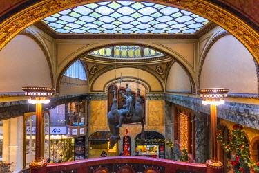 CZ01545 Czech Republic, Prague, New Town (Nove Mesto), Lucerna Palace Arcade, Statue of St. Wenceslas riding a dead horse by David Cerny
