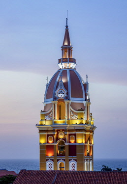 COL0356AWRF Metropolitan Cathedral Basilica of Saint Catherine of Alexandria, tower at dusk, Cartagena, Bolivar Department, Colombia
