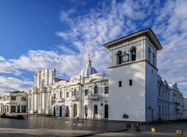 COL0379AWRF Cathedral Basilica of Our Lady of the Assumption and Clock Tower, Popayan, Cauca Department, Colombia