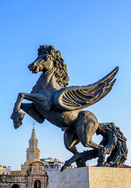COL0477AW Flying Horse Sculpture and Clock Tower, Cartagena, Bolivar Department, Colombia