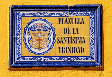 COL0505AW Ceramic Street Sign, Old Town, Cartagena, Bolivar Department, Colombia
