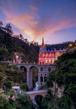 COL0563AW Las Lajas Sanctuary at dusk, Narino Departmant, Colombia