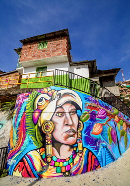 COL0642AW Colourful Street Art in Comuna 13, Medellin, Antioquia Department, Colombia