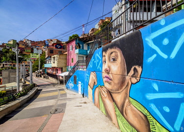 COL0643AW Colourful Street Art in Comuna 13, Medellin, Antioquia Department, Colombia