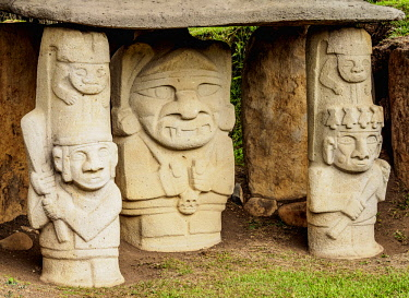 COL0712AW Pre-Columbian Sculptures, San Agustin Archaeological Park, Huila Department, Colombia
