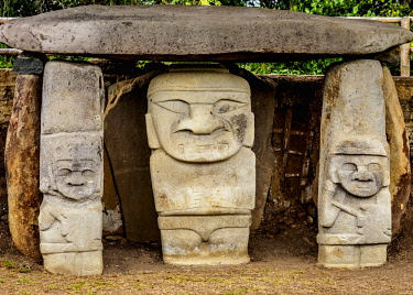COL0717AW Pre-Columbian Sculptures, San Agustin Archaeological Park, Huila Department, Colombia