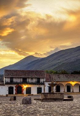 COL0781AW Main Square, Plaza Mayor, sunrise, Villa de Leyva, Boyaca Department, Colombia