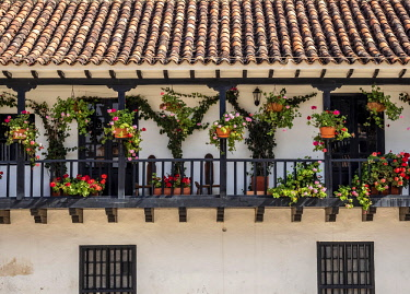 COL0785AW House with balcony at Main Square, Plaza Mayor, Villa de Leyva, Boyaca Department, Colombia