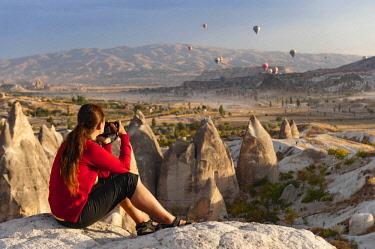 TUR1028 Turkey, Cappadocia, Goreme, Watching Hotair ballooning at dawn