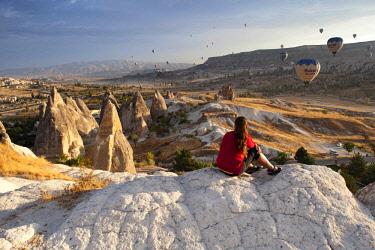 TUR1029 Turkey, Cappadocia, Goreme, Watching Hotair ballooning at dawn