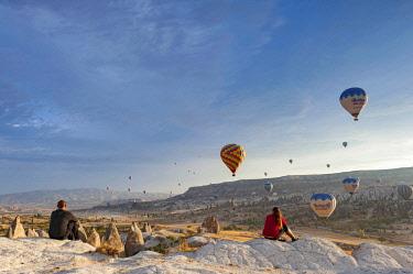 TUR1030 Turkey, Cappadocia, Goreme, Watching Hotair ballooning at dawn