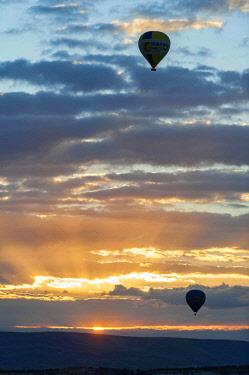 TUR1031 Turkey, Cappadocia, Goreme, Watching Hotair ballooning at dawn
