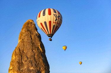 TUR1048 Turkey, Cappadocia, Goreme, Watching Hotair ballooning at dawn