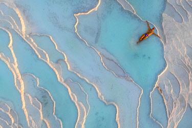 TK09410 Turkey, Denizli Province, Pamukkale, Hierapolis Pamukkale Archeological Site (UNESCO Site), Natural Travertine Thermal Pools (MR)
