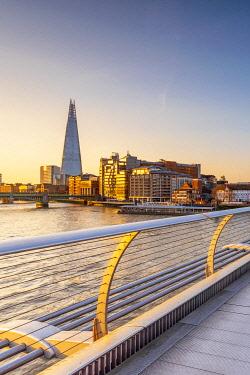 UK713RF UK, England, London, Southwark, The Shard from Millennium Bridge over River Thames