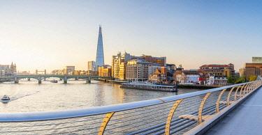 UK11631 UK, England, London, Southwark, The Shard from Millennium Bridge over River Thames