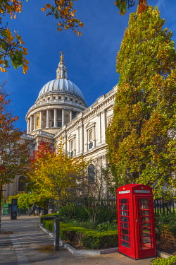 UK11663 UK, England, London, St. Paul's Cathedral, Red Telephone Box